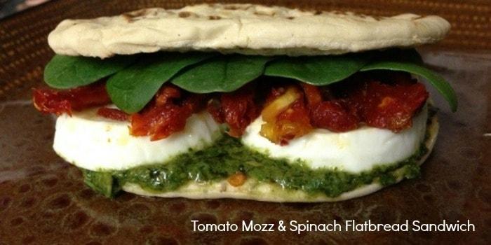 Tomato Mozz & Spinach Flatbread Sandwich