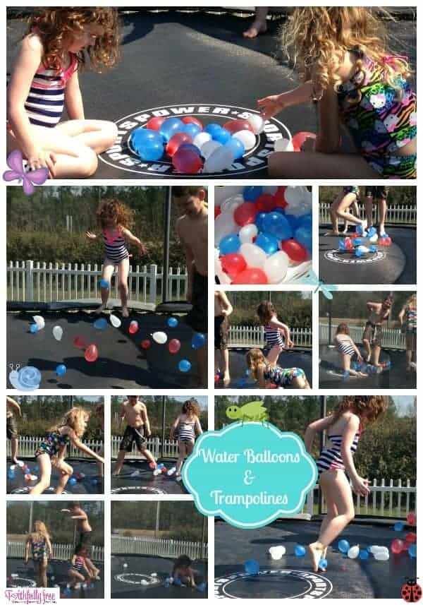 saturday fun water balloons on the trampoline