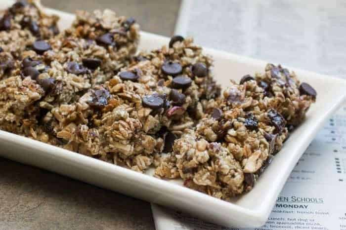 Chocolate Raisin Apple Granola Bars For Snack