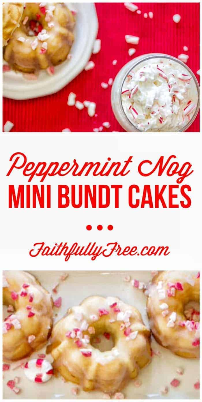 Faithfully Free Peppermint Nog Mini Bundt Cakes - Perfect little bundt cakes for your next holiday party. Minter is coming!