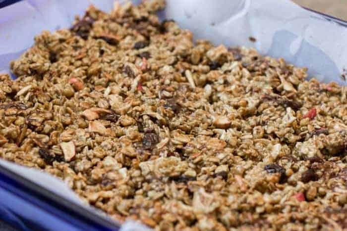 Chocolate Raisin Apple Granola Bars in a Baking Dish
