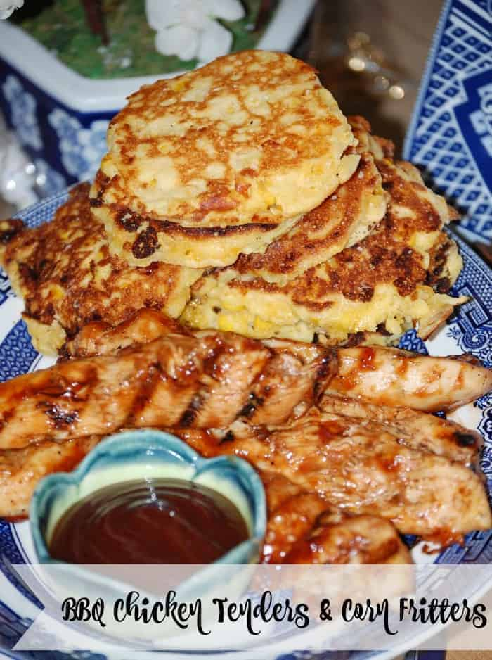 BBQ Chicken Tenders with Corn Fritters