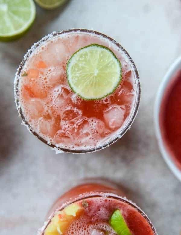 strawberry bottomed pineapple margaritas
