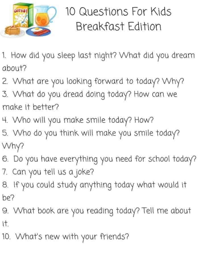 Questions To Start The Day Free Printable For Kids and Parents